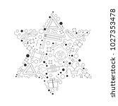 purim holiday flat design black ... | Shutterstock .eps vector #1027353478