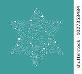 purim holiday flat design white ... | Shutterstock .eps vector #1027353484