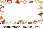 frame with purim holiday flat... | Shutterstock .eps vector #1027353490