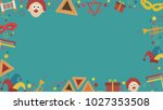 frame with purim holiday flat... | Shutterstock .eps vector #1027353508