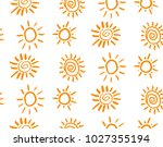 doodle vector suns seamless... | Shutterstock .eps vector #1027355194
