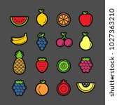 fruits and berries flat vector... | Shutterstock .eps vector #1027363210