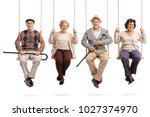 cheerful seniors sitting on... | Shutterstock . vector #1027374970