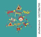purim holiday flat design icons ... | Shutterstock .eps vector #1027386700
