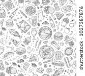 beer and pub food vector... | Shutterstock .eps vector #1027387876