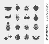 fruits and berries flat vector... | Shutterstock .eps vector #1027389190