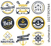 nautical retro vector logo for... | Shutterstock .eps vector #1027392964