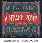 vintage font set with old label ... | Shutterstock .eps vector #1027397929