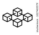 blockchain line icon.  96x96... | Shutterstock . vector #1027405579