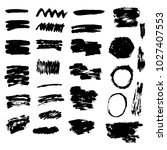 set of grunge brush stroke. ink ... | Shutterstock .eps vector #1027407553