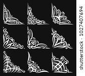 vector set of decorative white... | Shutterstock .eps vector #1027407694