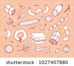 vector food. sausages set. meat ... | Shutterstock .eps vector #1027407880