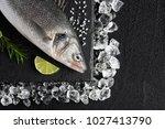 Fresh Bass Fish On Ice On A...
