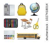 vector set of school supplies...   Shutterstock .eps vector #1027418014