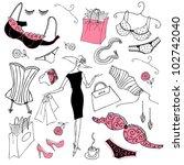 feminine doodles  shopping... | Shutterstock .eps vector #102742040