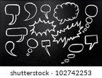 Speech bubbles drawn in chalk...