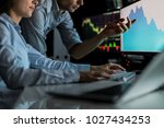 analyzing data  graphs and... | Shutterstock . vector #1027434253