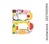letter b food logo icon. flat... | Shutterstock .eps vector #1027435594