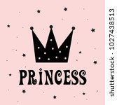 little princess with crown... | Shutterstock .eps vector #1027438513