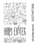 vector happy easter card with... | Shutterstock .eps vector #1027447300