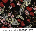 embroidery fish bone  flowers... | Shutterstock .eps vector #1027451170