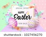 easter eggs sale banner... | Shutterstock .eps vector #1027456270