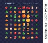 fruits and berries pixel art... | Shutterstock .eps vector #1027459390