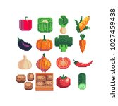 vegetables pixel art icons set... | Shutterstock .eps vector #1027459438