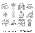 hiking equipment and forest... | Shutterstock .eps vector #1027461403