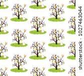 easter eggs tree seamless...   Shutterstock .eps vector #1027463044