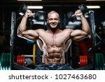 blonde brutal sexy strong... | Shutterstock . vector #1027463680