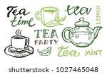 hand drawn doodle tea set | Shutterstock .eps vector #1027465048