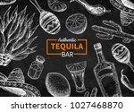 tequila bar vector blackboard... | Shutterstock .eps vector #1027468870