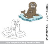 walrus mom and her infant to be ... | Shutterstock .eps vector #1027468888