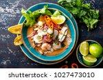 peruvian ceviche sebiche.... | Shutterstock . vector #1027473010