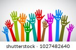 a group of smiling hands  ... | Shutterstock .eps vector #1027482640