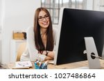 attractive young businesswoman... | Shutterstock . vector #1027486864