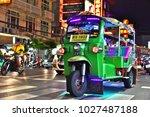 Small photo of BANGKOK, THAILAND - JAN 24, 2018: Tuk-tuk, an auto rickshaw in Bangkok Chinatown