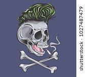 smoking skull punk | Shutterstock .eps vector #1027487479