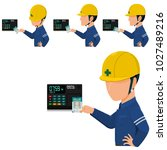 set of worker is checking in  ...   Shutterstock .eps vector #1027489216