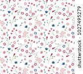 Stock vector cute seamless floral pattern simple flowers background for fabric wrapping wallpaper paper 1027495279