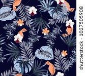 hawaii print vector seamless... | Shutterstock .eps vector #1027505908