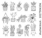 set of hand drawn vector plants ... | Shutterstock .eps vector #1027506106