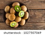Kiwi Fruit On Wooden Rustic...