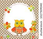 Round Frame With Cartoon Owl I...