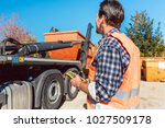 worker on construction site... | Shutterstock . vector #1027509178