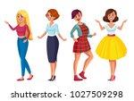 woman dresscode romantic style... | Shutterstock .eps vector #1027509298