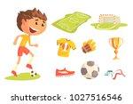boy soccer football player ... | Shutterstock .eps vector #1027516546