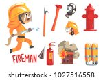 boy fireman  kids future dream... | Shutterstock .eps vector #1027516558