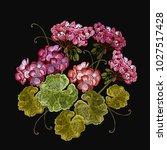 embroidery geranium flowers in...   Shutterstock .eps vector #1027517428